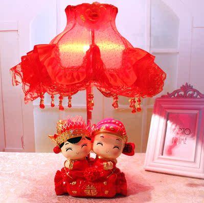 包邮婚庆台灯树脂娃娃床头卧室灯实用创意结婚礼物红色婚房摆件图片