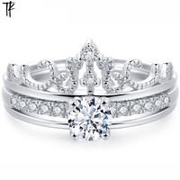 银戒指女纯银皇冠