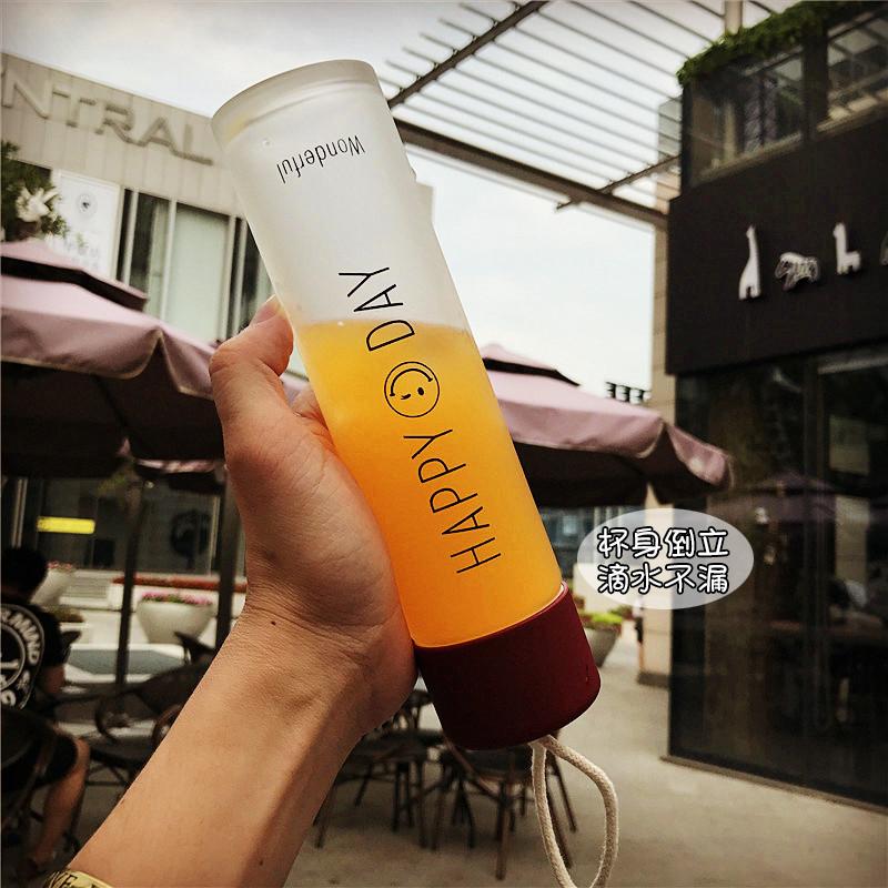 韩国磨砂笑脸带提绳直身玻璃杯5元优惠券