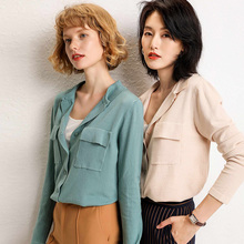 New Korean Spring and Autumn Knitted Open-topped Women's Turn-lapel, Pure Color, Loose Short Bottom Shirt, Neck and Sweater Coat, 2019