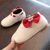 2017儿童小短靴女单公主鞋1-3-5岁皮鞋韩版侧拉链可爱宝宝中筒靴