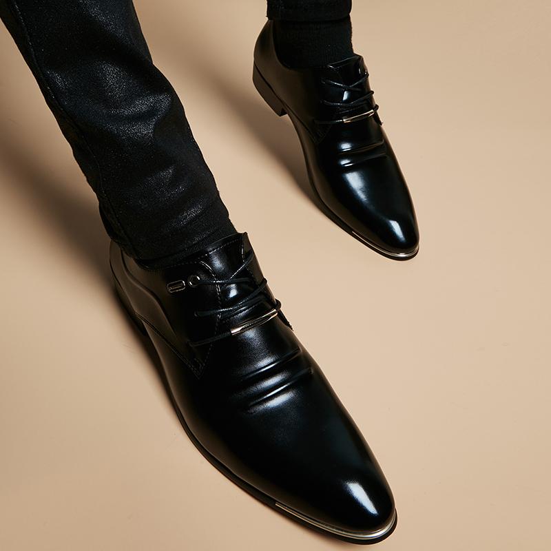 皮鞋男内增高英伦亮皮尖结婚鞋发型师