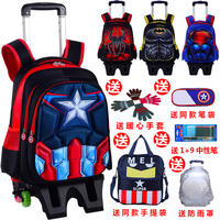 Spider-Man Trolley Schoolbag Primary School Students 1-2-3-6 Grade Children Boy Captain America Backpack 6-12 Years Old 8