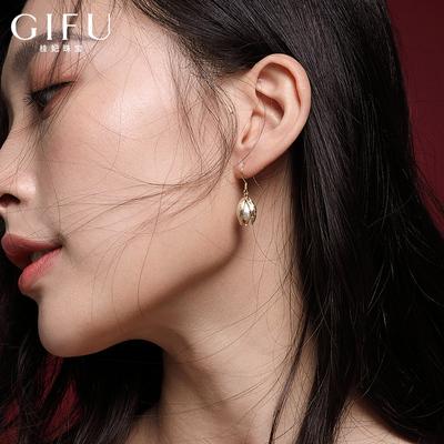 纯银天然珍珠耳环女气质高级感圆脸小众耳饰金色花形耳坠显瘦超仙