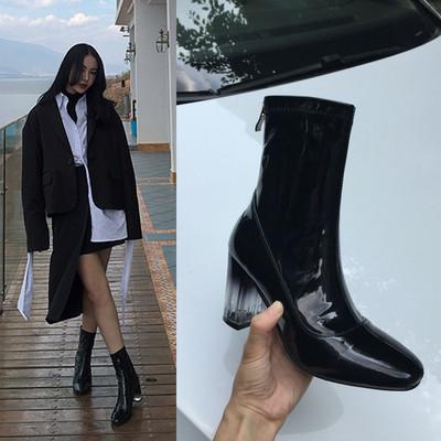 网红同款2018新款秋冬及裸靴单靴马丁靴子方头高跟漆皮粗跟短靴女