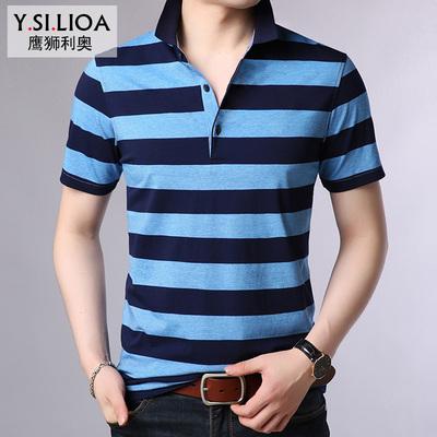 男士短袖T恤条纹t恤针织夏季中青年大码男装体恤衫柒牌雅戈尔同款