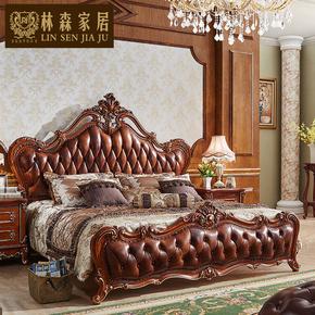 欧式真皮双人床皮艺全实木手工雕刻雕花美式1.8m2米奢华品质