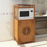 橱柜楠竹简易储物柜组装多功能碗柜厨房经济型餐边柜带门收纳柜子