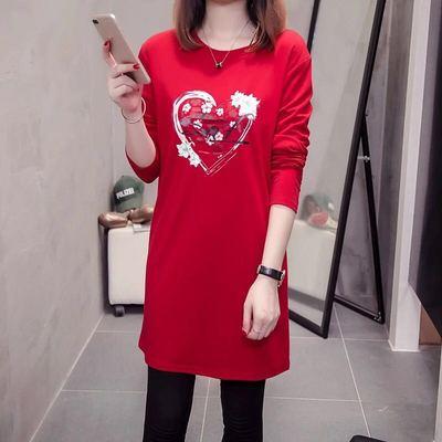 2018秋装新款韩版宽松中长款长袖t恤女 秋衣外穿打底衫上衣显瘦潮