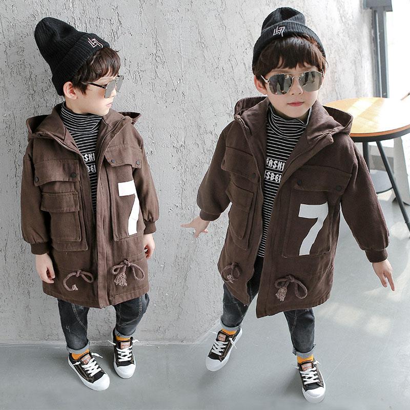 男童加厚外套2018新款儿童夹棉中长款冬装中大童冬季洋气风衣潮衣图片