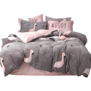 Thick coral fleece four-piece net red flannel double-sided quilt cover winter flair crystal bed linen