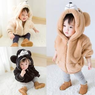 2017冬季新款男女童外套加绒加厚韩版仿皮草宝宝绒外套毛毛衣棉衣