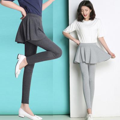 春秋季外穿薄款打底裤女大码胖mm弹力显瘦黑色假两件裙裤带裙子
