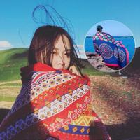 青海旅游春秋季围巾女海边滩超大披肩沙滩巾丝巾民族风纱巾百搭