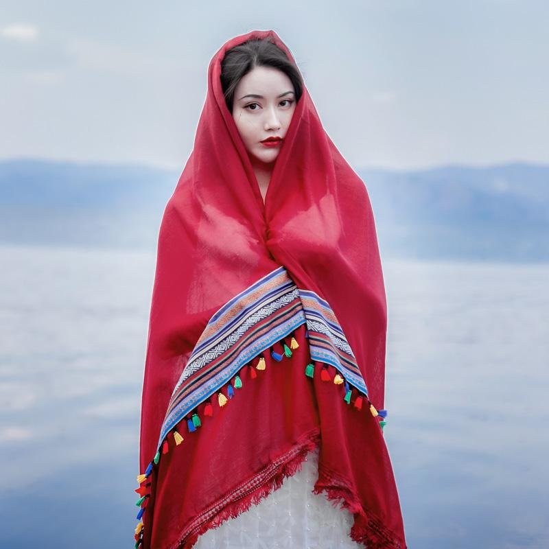 民族风披肩红色