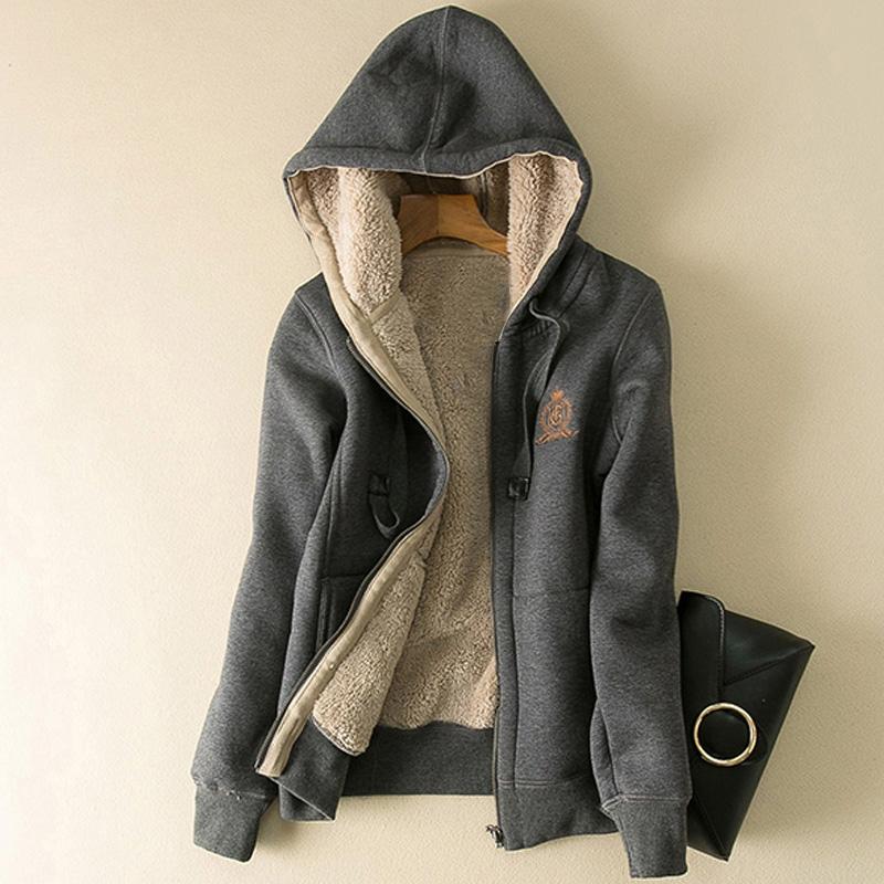 冬季加绒加厚连帽拉链开衫卫衣女韩版短款长袖大码宽松羊羔绒外套满100元减10元