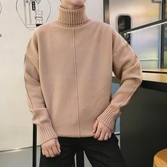 男士高领紫色毛衣