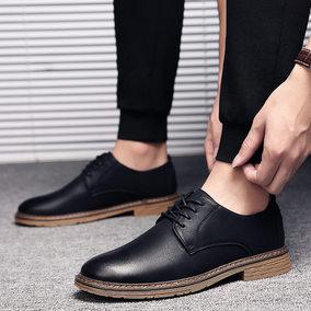 冬季流行黑色小皮鞋男士英伦风正装休闲鞋商务增高棉鞋潮男鞋子