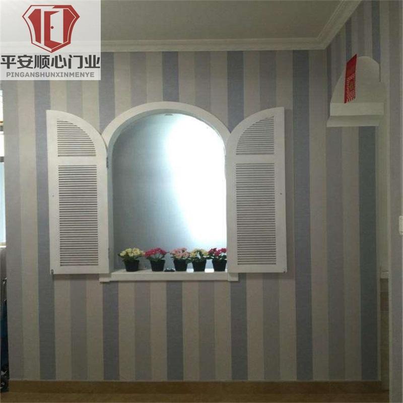 美式田园 风格拱形窗 地中海实木窗弧形白色蓝色窗户定制厂家直销