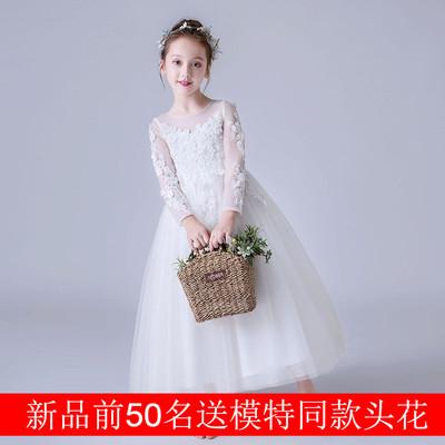 儿童礼服长款公主裙女童中大童钢琴蓬蓬演出服小主持人花童婚纱裙