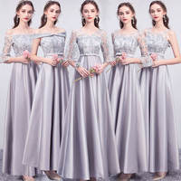 Bridesmaid dress long section 2019 new satin sister group bridesmaid dress short toast clothing evening dress graduation dress spring