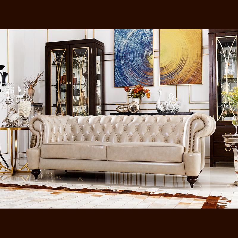 唯美登轻奢美式真皮沙发A03-3