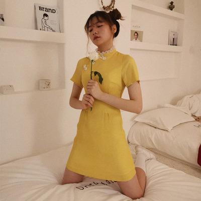 蜜法糖心原创设计 黄色新式少女复古改良旗袍年轻款连衣裙女夏