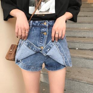 夏装女装新款韩版学院风百搭单排扣牛仔裙高腰防走光裙裤半身裙潮