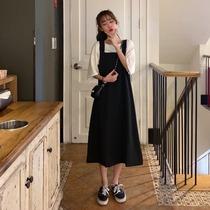 夏装女装新款韩版休闲中长款A字裙高腰学生一字领背带裙连衣裙子