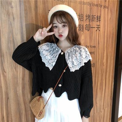 小清新针织衫甜美秋装女装韩版宽松百搭蕾丝拼接开衫外套毛衣女生