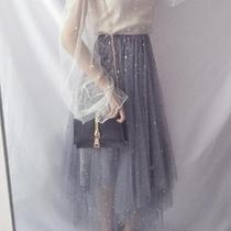 秋装新款女装日系甜美星星闪亮片网纱中长款学生蓬蓬裙短裙半身裙