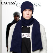 CACUSS men's winter fashion outdoor warm suit thickening knitted wool hat scarf gloves three-piece