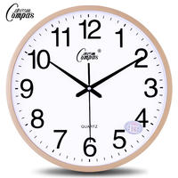 Compas 14-inch silent wall clock living room simple fashion bedroom clock wall-mounted table modern creative quartz clock