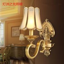 美式全铜壁灯简约现代卧室床头灯客厅电视背景墙灯单双头过道灯