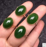 Natural and field jasper ring ring spinach green oval ring egg ring for men and women not Mosaic special price
