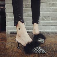 毛毛拖鞋女外穿2017秋冬新款女鞋尖头细跟单鞋猫跟高跟包头半拖鞋