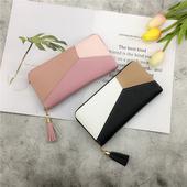 手机包 钱包女个性 日韩版 拼接撞色女式拉链手拿包时尚 长款 2018新款
