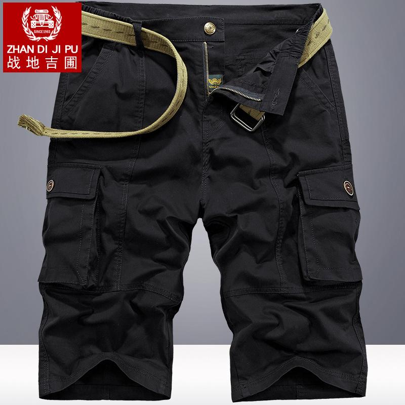 夏季7分裤男宽松休闲裤潮流工装短裤男马裤2019夏天纯棉七分中裤