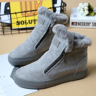 人本棉鞋女生内增高加绒百搭2018冬季新款韩版潮学生高帮帆布鞋子