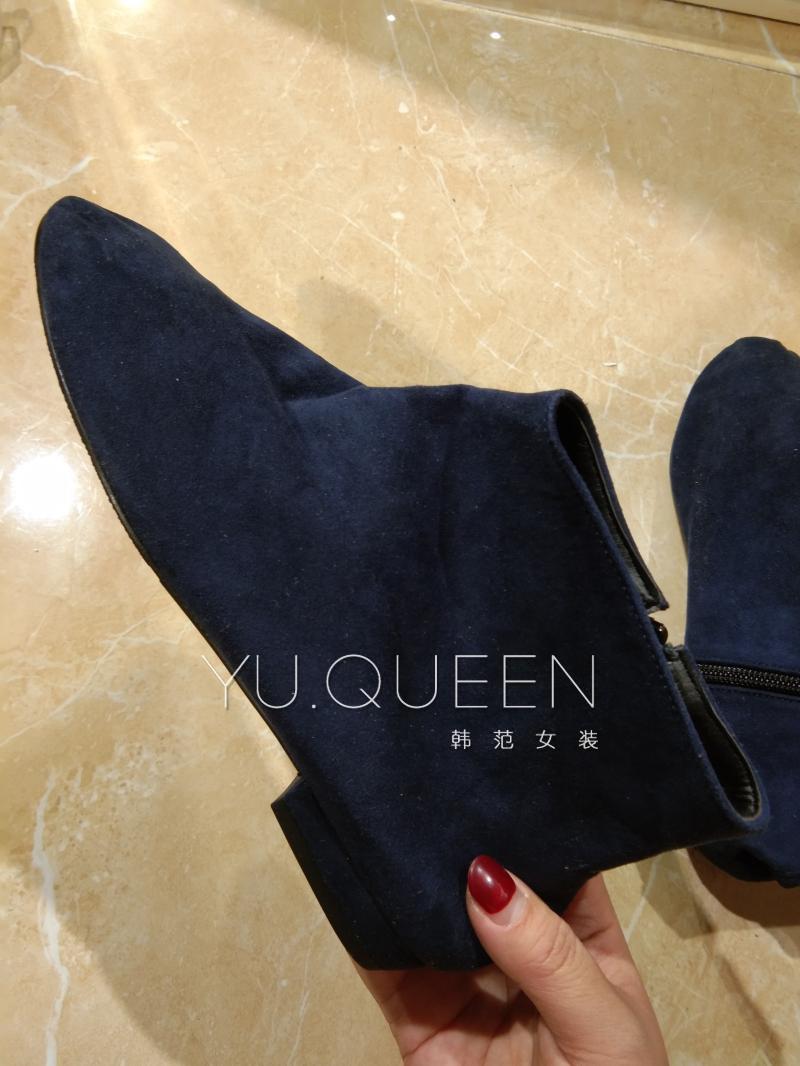 清仓特价韩国东大门深蓝色平底绒面侧拉链短靴裸靴