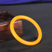 Natural Huanglong Jade Bracelet Jade Women's Bracelet Jewelry Jade Bracelet Round Bar Ice Penetrating Chicken Oil Yellow