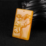 Natural yellow dragon jade lotus pendant Lotus lotus leaf jade brand sweater chain men and women lotus pendant pendant