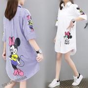 夏季衬衫新款韩版中长款大码女装宽松文艺韩范条纹印花短袖上衣潮