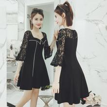 大码女装春季新款韩版显瘦蕾丝拼接喇叭袖连衣裙女大摆A字裙短裙