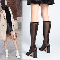 2019 popular womens shoes spring and autumn single boots in the tube mesh hollow boots fashion womens boots high-heeled cool boots breathable short boots