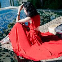 2018夏季新款仙女红色雪纺连衣裙波西米亚大摆长裙海边度假沙滩裙