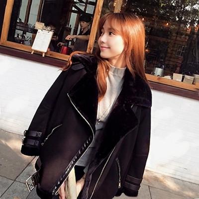 2018韩国宽松加厚翻领鹿皮绒羊羔毛外套女秋冬季中长款机车服夹克
