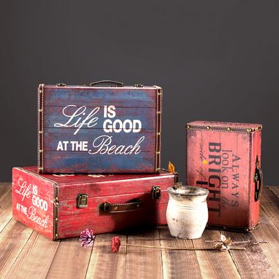 巴黎铁塔欧式复古收纳箱 套装仿古木箱子 百宝箱道具礼物 储物箱