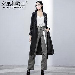 女巫和骑士2019新款女装外套时尚纯色气质风衣女中长款西装领薄款