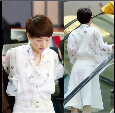 我的前半生罗子君同款衬衫女印花雪纺衬衣打底衫白色背带裙裤套装